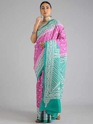 Pink-Turquoise Handwoven Kantha Embroidered Silk Saree