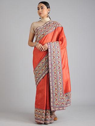Orange Handwoven Kantha Embroidered Tussar Silk Saree