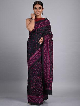Black-Purple Kantha Hand Embroidered Silk Saree