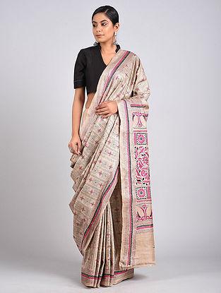 Ivory-Pink Kantha Embroidered Tussar Silk Saree