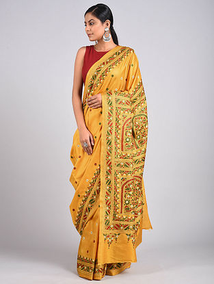 Yellow Kantha Embroidered Silk Saree