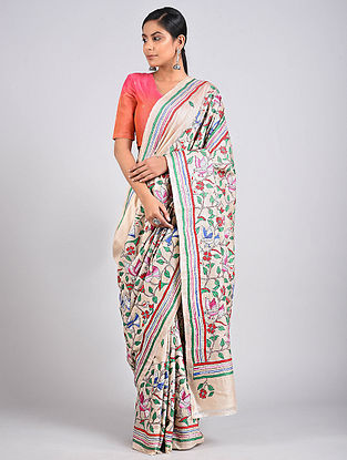 Multicolored Kantha Embroidered Tussar Silk Saree