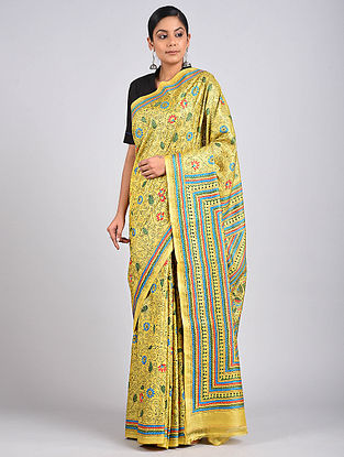 Yellow Kantha Embroidered Tussar Silk Saree