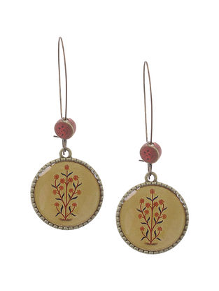 Red Beige Gold Tone Earrings