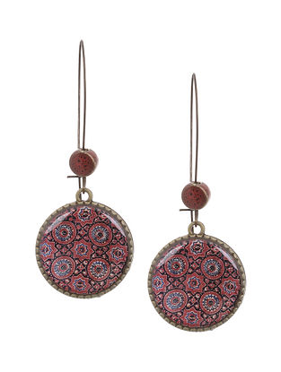 Red Black Gold Tone Earrings
