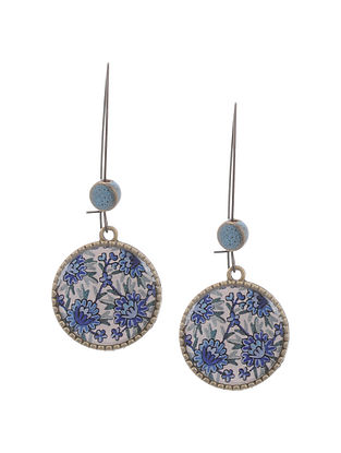 Blue White Gold Tone Earrings