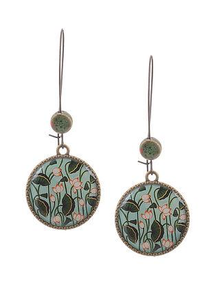 Blue Green Gold Tone Earrings