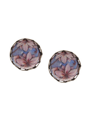 Blue Pink Gold Tone Stud Earrings
