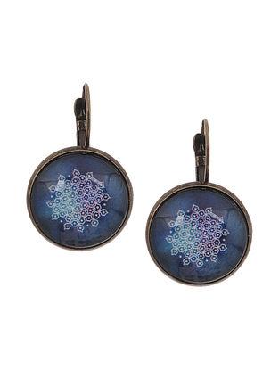 Blue White Gold Tone Clip Earrings