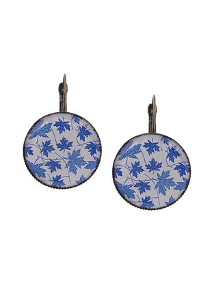 Blue White Gold Tone Clip Earrings