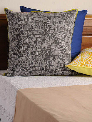 Backbay Charcoal-White-Olive Cushion Cover 24.5in X 24.5in