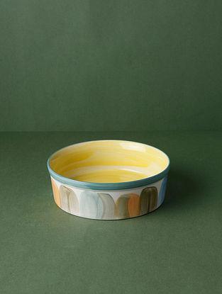 Rainshine White-Multicolour Handpainted Ceramic Server (Dia - 7in, H- 2in)