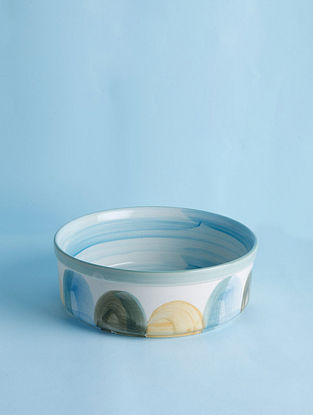 Rainshine White-Multicolour Handpainted Ceramic Server (Dia - 9in, H- 2in)