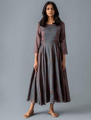 Brown Cotton Silk Dress