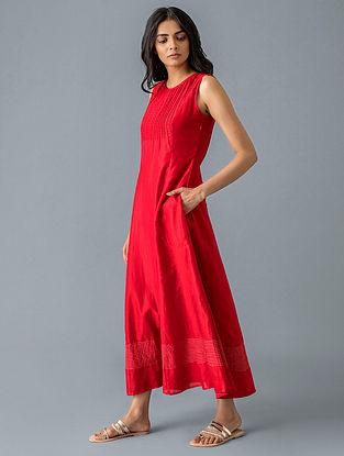 Red Cotton Silk Dress