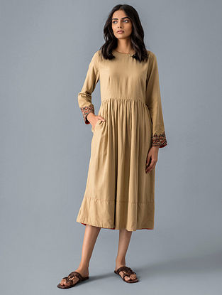 Beige Cotton Viscose Dress