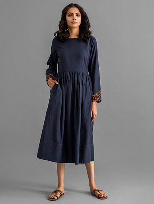 Navy Viscose Cotton Dress