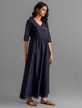 Navy Cotton Chanderi Dress