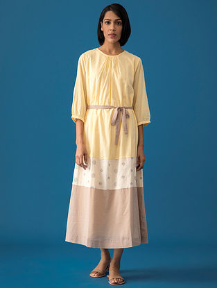 Yellow Solid Cotton Voile Dress