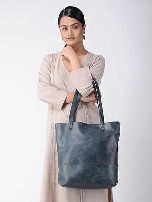 Teal Handcrafted Leather Tote
