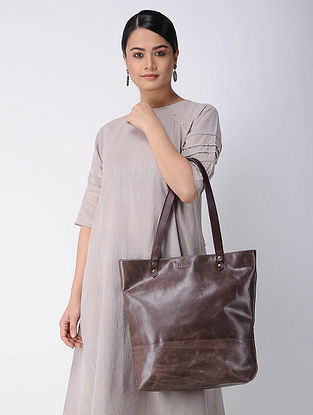 Mauve Handcrafted Leather Tote