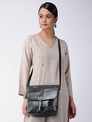 Black Handcrafted Leather Sling Bag