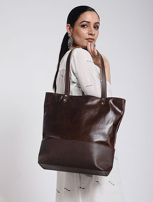 Dark Brown Handcrafted Leather Tote Bag