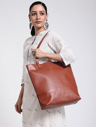 Tan Brown Handcrafted Leather Tote Bag