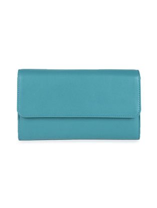 Aqua Blue Handcrafted Genuine Leather Wallet