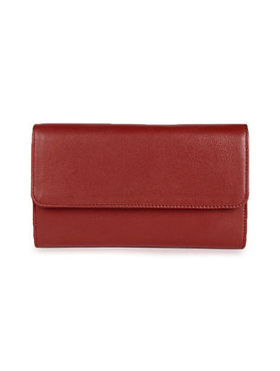 Red Handcrafted Genuine Leather Wallet