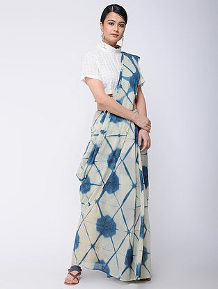Ivory-Indigo Clamp-dyed Mul Cotton Saree with Natural Dyes