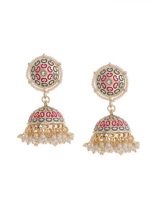 Grey Pink Gold Tone Brass Jhumkis