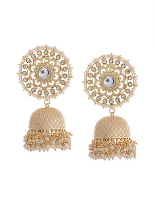 Peach Gold Tone Brass Jhumkis