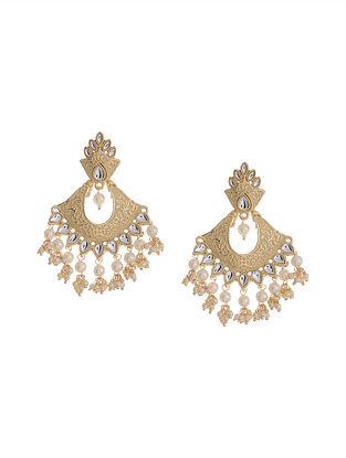 Peach Gold Tone Brass Earrings
