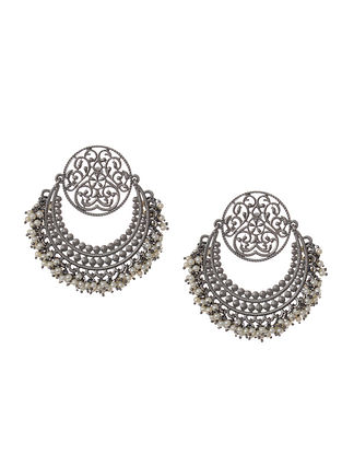 Silver Tone Chandbali Earrings with Pearls