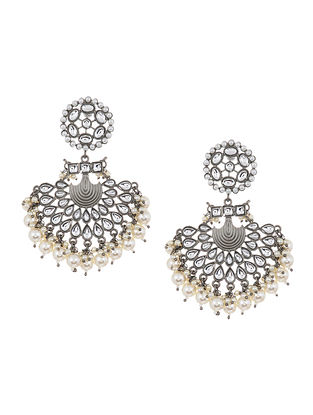 Kundan Silver Tone Chandbali Earrings with Pearls
