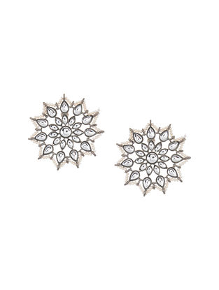 Kundan Silver Tone Stud Earrings with Pearls