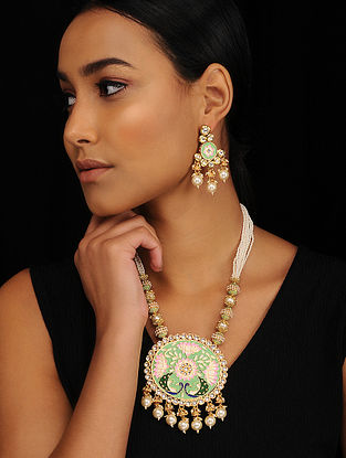 Multicolored Gold Tone Pearl Beaded Meenakari Necklace with Earrings (Set of 2)