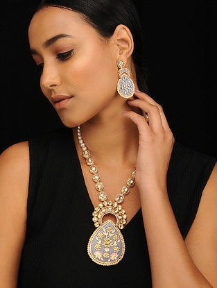 Grey Pink Gold Tone Pearl Beaded Meenakari Necklace with Earrings (Set of 2)