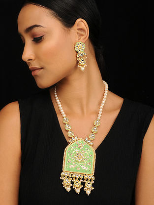 Green Gold Tone Pearl Beaded Meenakari Necklace with Earrings (Set of 2)