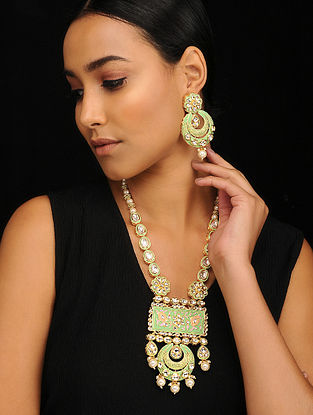 Green Pink Gold Tone Pearl Beaded Meenakari Necklace with Earrings (Set of 2)