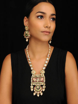 Green Red Gold Tone Pearl Beaded Meenakari Necklace with Earrings (Set of 2)