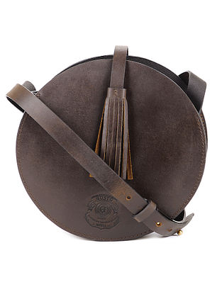 Brown Round Leather Sling Bag