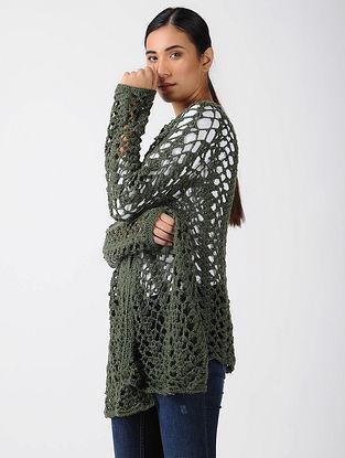 Green Crochet Wool Shrug