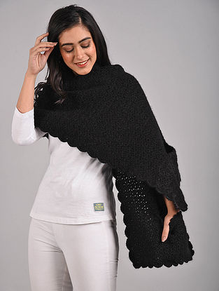 Black Hand Knitted Hand Knitted Wool Wrap