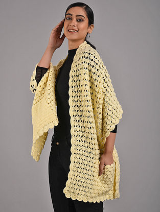 Cream Hand Knitted Hand Knitted Wool Wrap