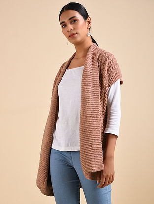 Peach Hand Knitted Wool Jacket
