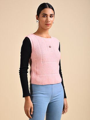 Pink Hand Knitted Wool Top