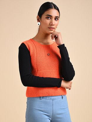 Orange Hand Knitted Wool Top