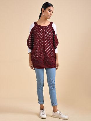 Maroon Hand Crochet Wool Top